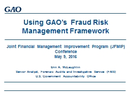Using GAO�s  Fraud Risk Management Framework