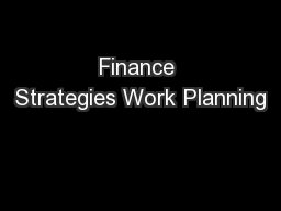 Finance Strategies Work Planning