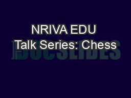 NRIVA EDU Talk Series: Chess