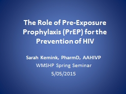 The Role of Pre-Exposure Prophylaxis (