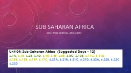 Sub Saharan Africa East, west, central, and south