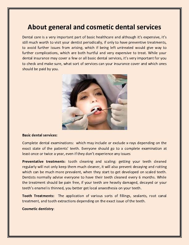 About general and cosmetic dental services