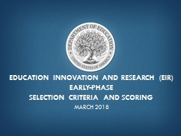 Education Innovation and Research (EIR)
