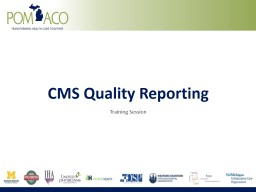 CMS Quality Reporting Training
