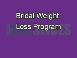 Bridal Weight Loss Program