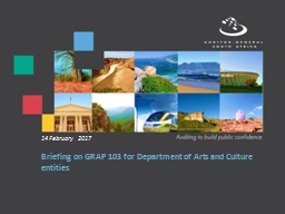 Briefing on GRAP 103 for Department of Arts and Culture entities