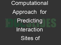 Computational Approach  for Predicting Interaction Sites of PowerPoint Presentation, PPT - DocSlides