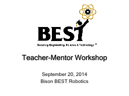Teacher-Mentor Workshop September 10, 2016