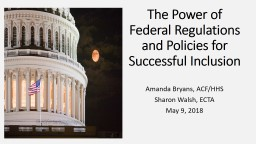 The Power of Federal Regulations and Policies for Successful Inclusion