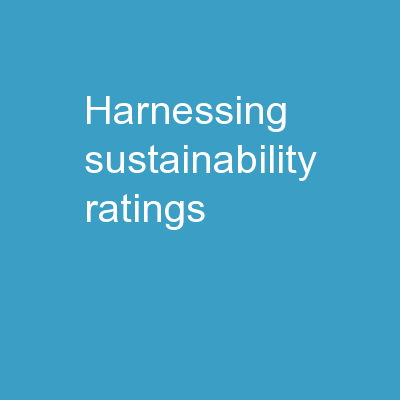 Harnessing Sustainability Ratings