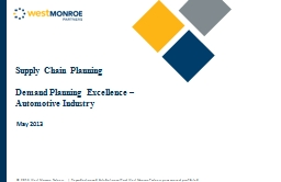 Supply Chain Planning Demand Planning Excellence � Automotive Industry
