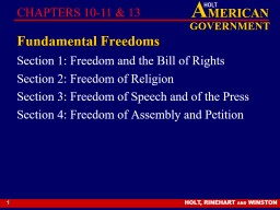 1 Fundamental Freedoms Section 1: Freedom and the Bill of Rights