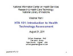 1   National Information Center on Health Services Research & Health Care Technology
