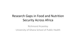 Research Gaps in Food and Nutrition Security Across Africa