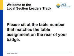 Welcome to the  Local Section Leaders Track