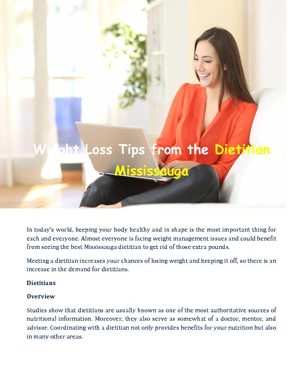 Weight Loss Tips from the Dietitian Mississauga