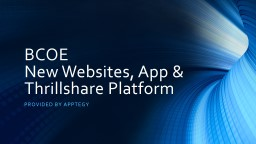 BCOE  New Websites, App &