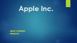 Apple Inc. About   company