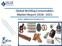 Welding Consumables Market Size, Industry Analysis Report 2018-2025 Globally