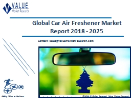 Car Air Freshener Market Size, Industry Analysis Report 2018-2025 Globally