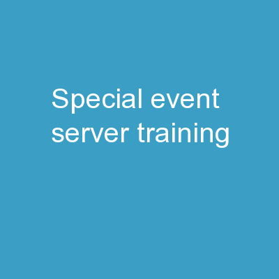 Special Event  Server Training