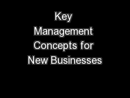 Key Management Concepts for New Businesses