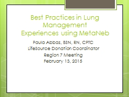 Best Practices in Lung Management