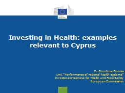 Investing in Health:  examples