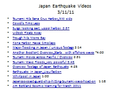 Japan Earthquake Videos  3/11/11