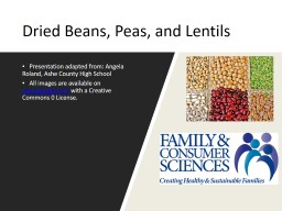 Dried Beans, Peas, and Lentils