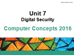 Unit 7 Digital Security Unit Contents
