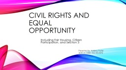 Civil Rights and Equal Opportunity