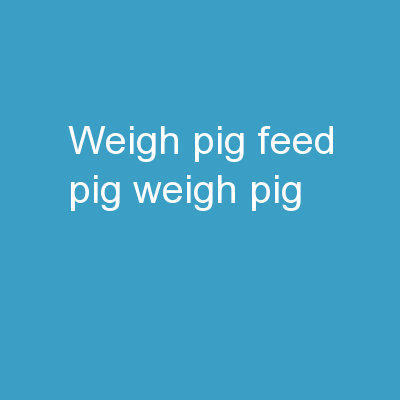 """Weigh Pig, Feed Pig, Weigh Pig"""