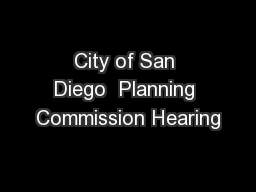 City of San Diego  Planning Commission Hearing