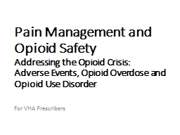 Pain Management and Opioid Safety