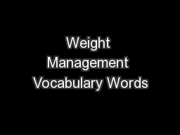 Weight Management Vocabulary Words