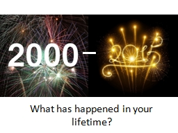 What has happened in your lifetime?