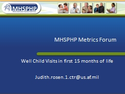 MHSPHP Metrics Forum Well Child Visits in first 15 months of life