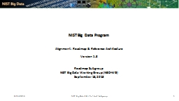 8/15/2013 NIST Big Data WG / Ref Arch Subgroup