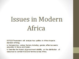 Issues in Modern Africa