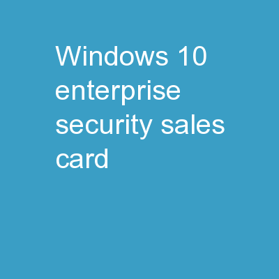 Windows 10 Enterprise Security Sales Card