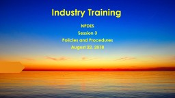 Industry Training NPDES Session 3