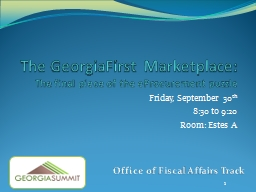The GeorgiaFirst Marketplace: