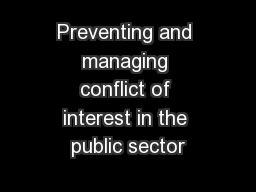 Preventing and managing conflict of interest in the public sector
