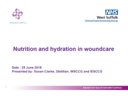 Nutrition and hydration in woundcare