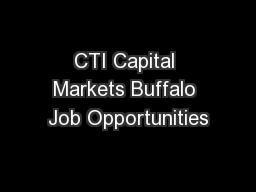 CTI Capital Markets Buffalo Job Opportunities