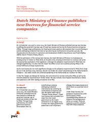 Dutch ministry of finance publishes new decrees for financial service companies