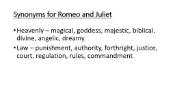 Synonyms for Romeo and Juliet