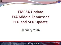 FMCSA Update TTA Middle Tennessee