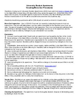 University Student Apartments Vacating Procedures Residents moving out of Student Apartments must submit an Intent to Vacate form to Student Apartments at least  thirty days before they vacate the apa
